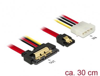 Cablu de date + alimentare SATA 22 pini 6 Gb/s cu clips la Molex 4 pini + SATA 7 pini 30cm, Delock 85230