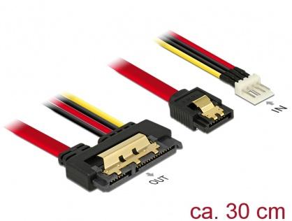 Cablu de date + alimentare SATA 22 pini 6 Gb/s cu clips la Floppy 4 pini tata + SATA 7 pini 30cm, Delock 85232