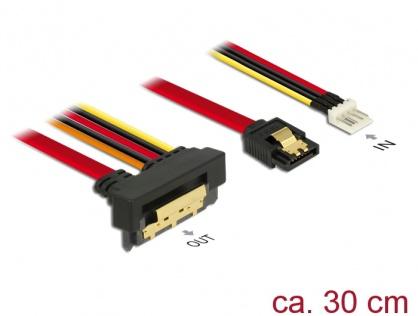 Cablu de date + alimentare SATA 22 pini 6 Gb/s cu clips la Floppy 4 pini tata + SATA 7 pini unghi jos/drept 30cm, Delock 85233