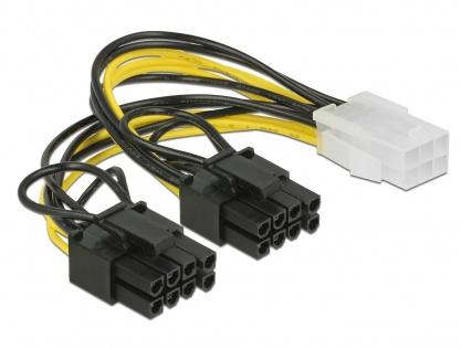 Cablu PCI Express 6 pini la 2 x 8 pini M-T 15cm, Delock 85452