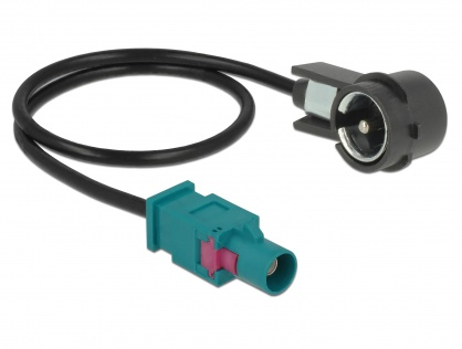 Cablu antena FAKRA Z la ISO plug RG-174 30cm Negru, Delock 85722
