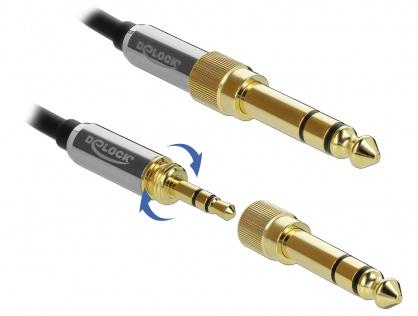 Cablu spiralat jack stereo 3.5mm 3 pini T-T + adaptor 6.35mm 3m, Delock 85838