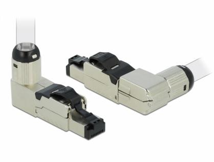 Conector RJ45 ecranat cat. 6A unghi, Delock 86289