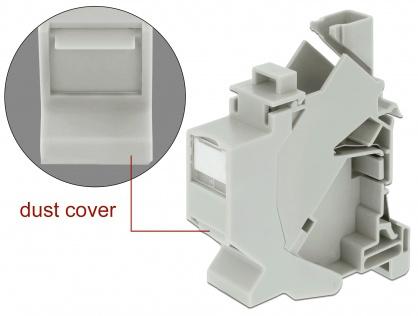 Suport Keystone pentru montare DIN rail cu protectie praf, Delock 86292