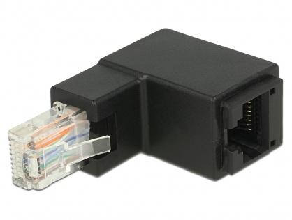 Adaptor RJ45 UTP in unghi sus cat 6 T-M negru, Delock 86424
