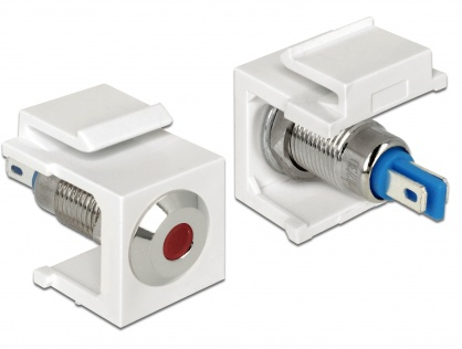Keystone alb cu LED rosu 6V flat, Delock 86433