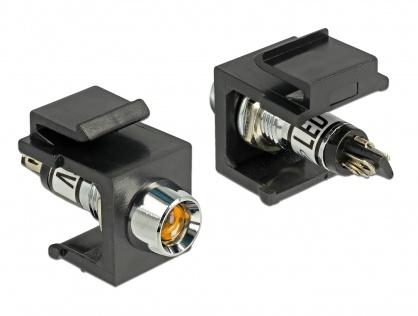 Keystone negru cu LED portocaliu 6V, Delock 86457