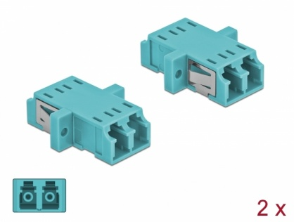 Set 2 buc cupla fibra optica LC Duplex la LC Duplex Multi-mode OM3 Light Blue, Delock 86536