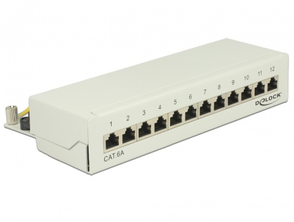 Patch Panel 12 porturi Cat.6A gri, Delock 87675