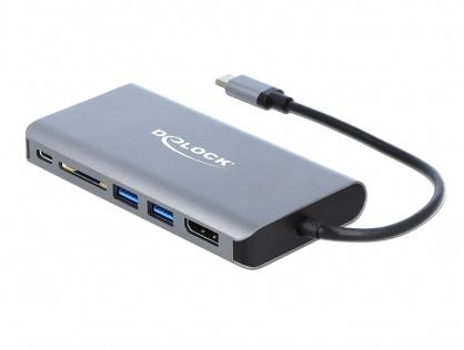 Docking Station USB-C la HDMI 4K, Displayport, 2 x USB 3.0, SD slot, Gigabit LAN, PD 3.0, Delock 87683