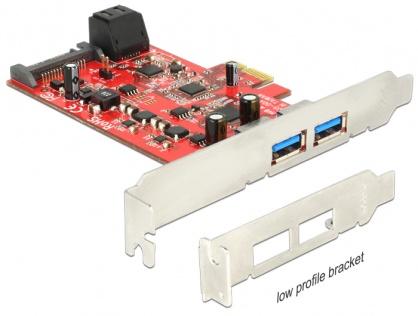 PCI Express cu 2 x USB 3.0 externe + 2 x SATA 6 Gb/s interne, Delock 89389
