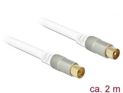Cablu antena IEC Plug la IEC Jack RG-6/U 2m Premium Alb, Delock 89412
