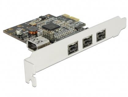PCI Express cu 3 porturi FireWire B + 1 port FireWire A, Delock 89864