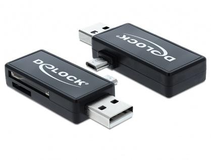 Cititor de carduri micro USB OTG + USB tip A, Delock 91731