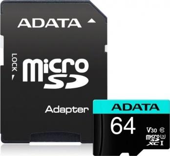 Card de memorie micro SDXC Premier Pro 64Gb clasa 10 UHS-I U3, ADATA AUSDX64GUI3V30SA2