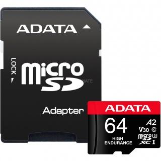 Card de memorie micro SDXC High Endurance 64Gb clasa 10 UHS-I U3, ADATA AUSDX64GUI3V30SHA2