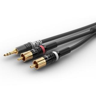 Cablu audio jack stereo 3.5mm la 2 x RCA T-T 1.5m, HBP-3SC2-0150