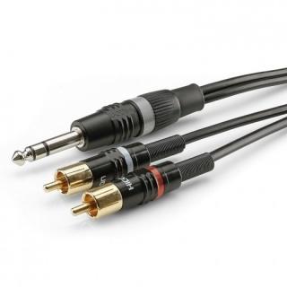 Cablu audio jack stereo 6.35mm la 2 x RCA T-T 3m, HBP-6SC2-0300