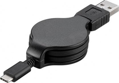 Cablu USB-C 2.0 T-T retractabil 1m Negru, KU31CN1BK