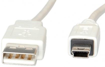 Cablu USB 2.0 la mini USB-B T-T 3m Alb, S3143