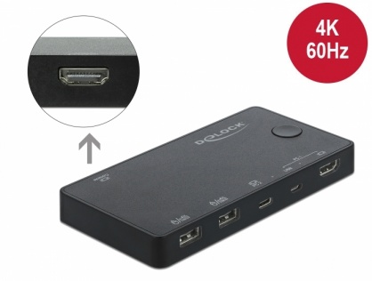 Switch KVM HDMI / USB-C  4K@60Hz cu USB 2.0, Delock 11477