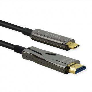 Cablu activ optic USB type C la HDMI (AOC) 4K60Hz T-T 30m, Roline 14.01.3474