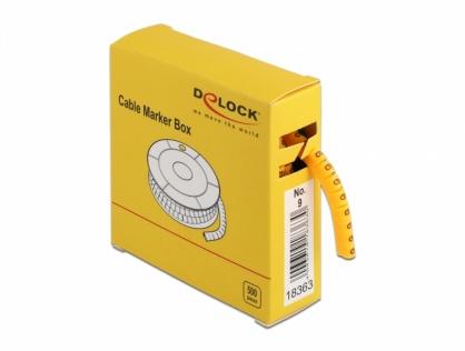 Set 10 bucati marcatoare cablu cifra 9 Galben, Delock 18363