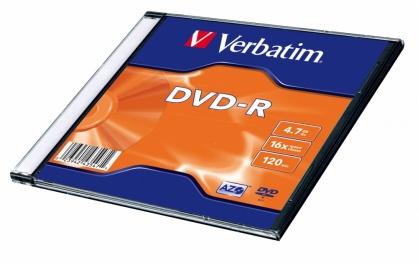 """DVD-R 4.7GB/120min/viteza 16x Single Layer cu carcasa """"Matt Silver"""", Verbatim 43547"""