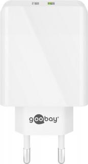 Incarcator priza 2 x USB Quick Charge 3.0 2A/28W Alb, Goobay 44957