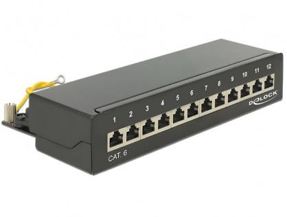 Patch panel 12 porturi Cat.6 FTP Negru, Delock 87296