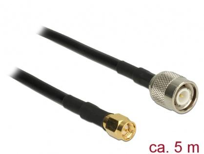 Cablu TNC Plug la SMA Plug CFD200 5m low loss, Delock 89505