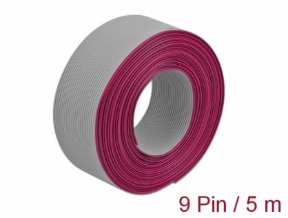 Cablu plat/flat pentru D-SUB 9 pini/pitch 1.27mm 5m, Delock 66606