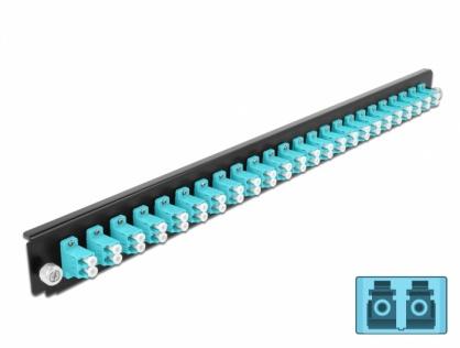 "Panou 19"" pentru carcasa 24 porturi LC Duplex OM3 aqua, Delock 43360"