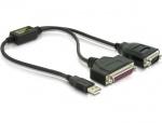 Cablu USB la serial RS232 + parallel DB25, Delock 61516
