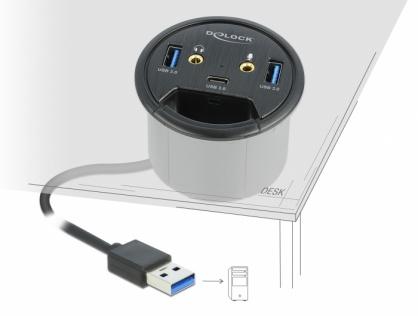 HUB in desk USB 3.2 Gen 1-A la 1 x USB-C + 2 x USB-A + 2 x jack stereo 3.5mm, Delock 62794