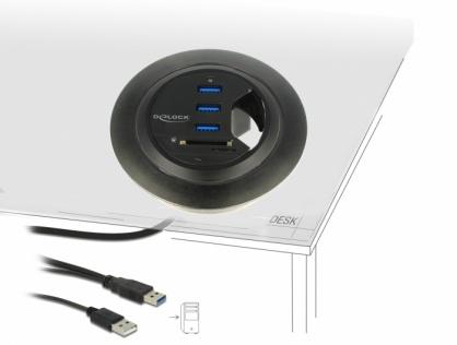HUB in desk cu 4 x USB 3.0-A + 2 Slot SD, Delock 62869