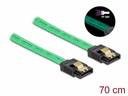 Cablu SATA III 6 Gb/s UV glow effect 70cm Verde, Delock 82112