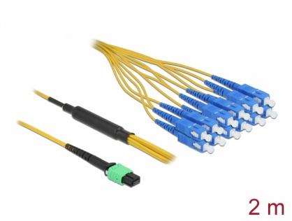 Cablu fibra optica MPO la 12 x SC Simplex Single-mode 2m, Delock 84871