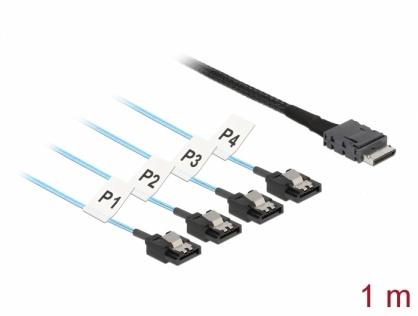 Cablu OCuLink SFF-8611 la 4 x SATA 7 pini 1m, Delock 85829