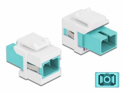 Keystone fibra optica SC Simplex Multi mode M-M Aqua/Alb, Delock 86716