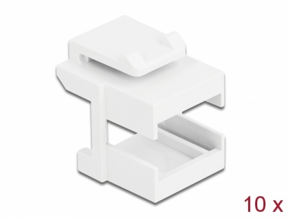 Set 10 buc adaptor keystone pentru cupla fibra optica Alb, Delock 86807