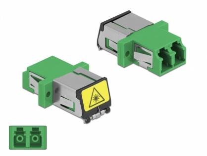 Cupla fibra optica cu protectie laser LC Duplex Single-mode M-M Verde, Delock 86897