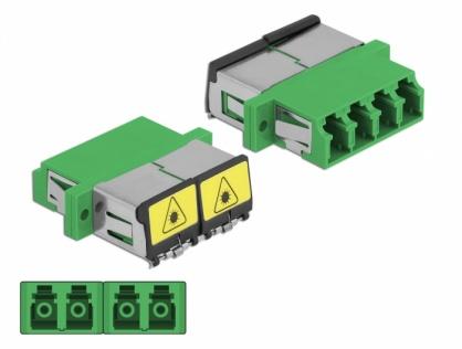 Cupla fibra optica cu protectie laser LC Quad Single-mode M-M Verde, Delock 86902