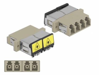 Cupla fibra optica cu protectie laser LC Quad Multi-mode OM1/OM2 M-M Bej, Delock 86904