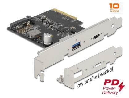 PCI Express x4 cu 1 x USB-C PD + 1 x USB 3.2-A Gen 2, Delock 90011