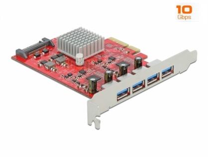 PCI Express cu 4 x SuperSpeed USB 10 Gbps (USB 3.2 Gen 2) USB-A externe, Delock 90481