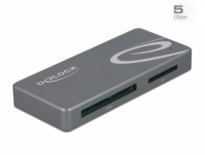 Cititor de carduri USB-C pentru CFast / SD + HUB, Delock 91754