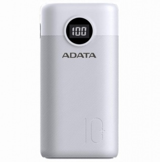 Power bank 10000mAh Quick Charge 3.0 + PD 22.5W, 2 x USB & 1 x USB-C 3A Alb, A-DATA AP10000QCD-DGT-CWH