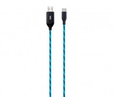 Cablu USB-A la USB-C 1m Albastru, CABLE-USB/USBC-1BE03-WL