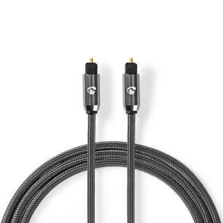 Cablu audio optic Toslink SPDIF 3m brodat, Nedis CATB25000GY30